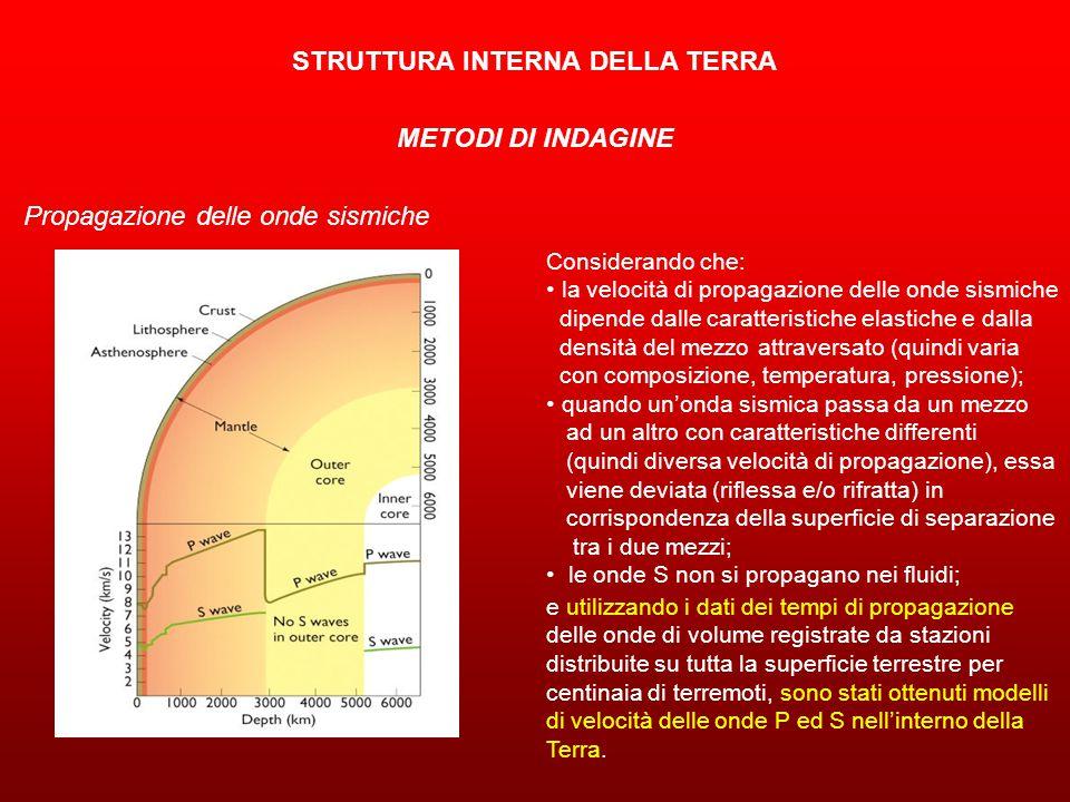 STRUTTURA INTERNA DELLA TERRA METODI DI INDAGINE Propagazione delle onde sismiche Considerando che: la velocità di propagazione delle onde sismiche dipende dalle caratteristiche elastiche e dalla densità del mezzo attraversato (quindi varia con composizione, temperatura, pressione); quando un'onda sismica passa da un mezzo ad un altro con caratteristiche differenti (quindi diversa velocità di propagazione), essa viene deviata (riflessa e/o rifratta) in corrispondenza della superficie di separazione tra i due mezzi; le onde S non si propagano nei fluidi; e utilizzando i dati dei tempi di propagazione delle onde di volume registrate da stazioni distribuite su tutta la superficie terrestre per centinaia di terremoti, sono stati ottenuti modelli di velocità delle onde P ed S nell'interno della Terra.