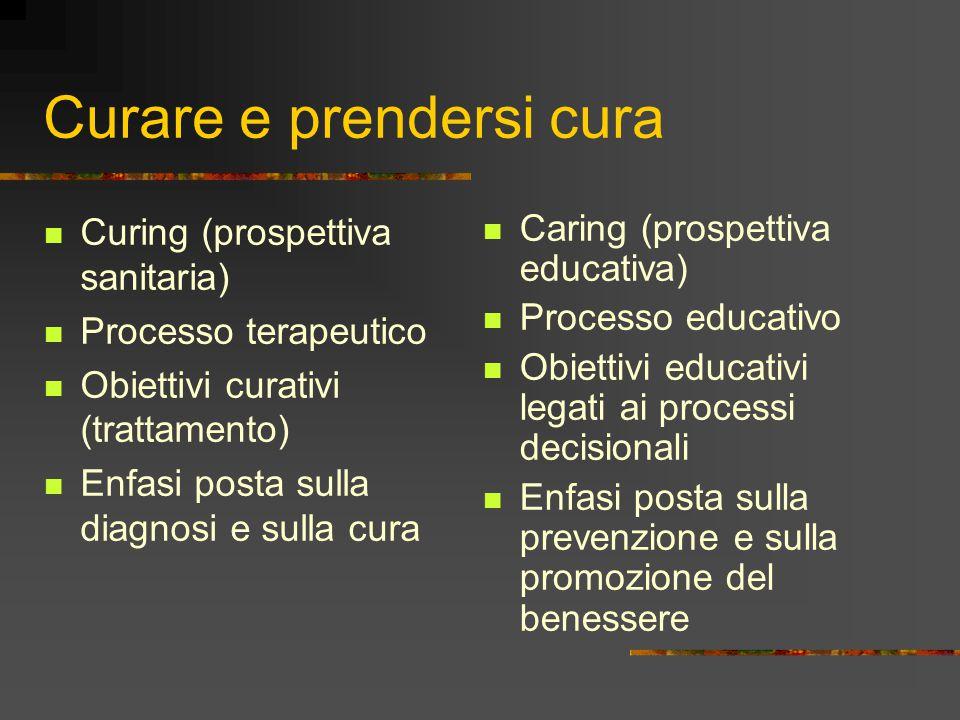 Curare e prendersi cura Curing (prospettiva sanitaria) Processo terapeutico Obiettivi curativi (trattamento) Enfasi posta sulla diagnosi e sulla cura Caring (prospettiva educativa) Processo educativo Obiettivi educativi legati ai processi decisionali Enfasi posta sulla prevenzione e sulla promozione del benessere