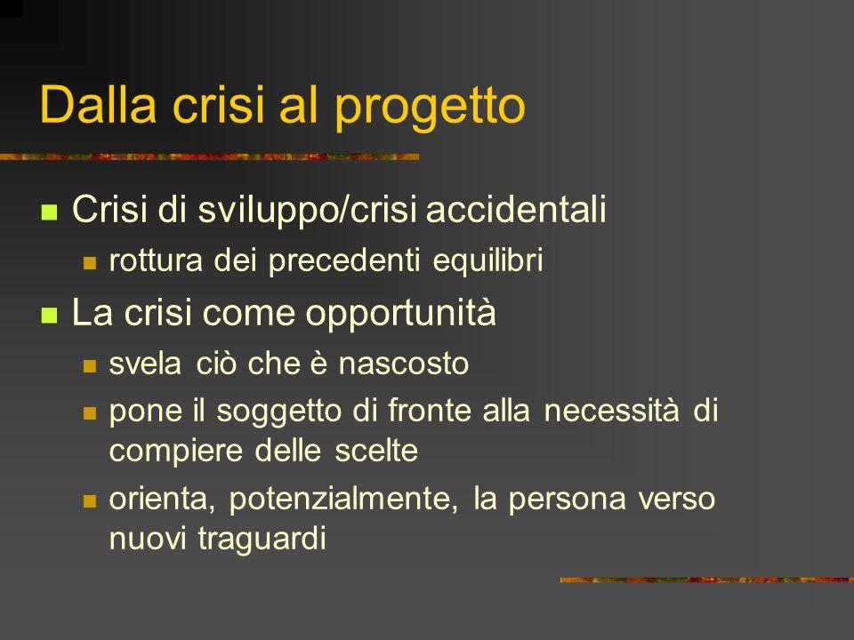 Dalla crisi al progetto Crisi di sviluppo/crisi accidentali rottura dei precedenti equilibri La crisi come opportunità svela ciò che è nascosto pone i