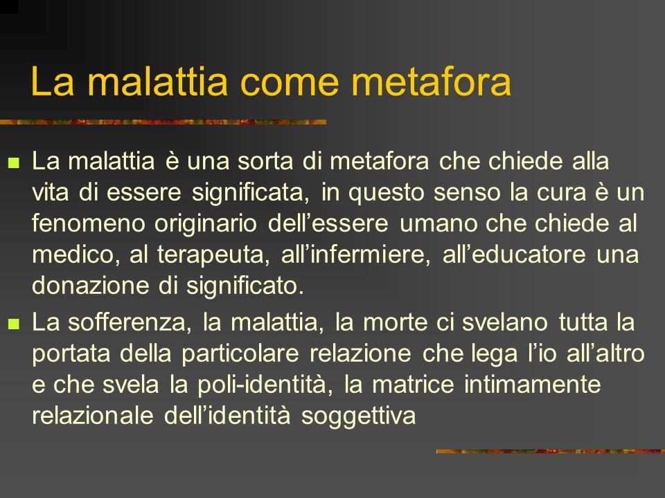 La malattia come metafora La malattia è una sorta di metafora che chiede alla vita di essere significata, in questo senso la cura è un fenomeno origin