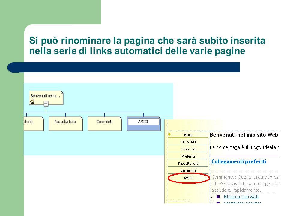Si può rinominare la pagina che sarà subito inserita nella serie di links automatici delle varie pagine