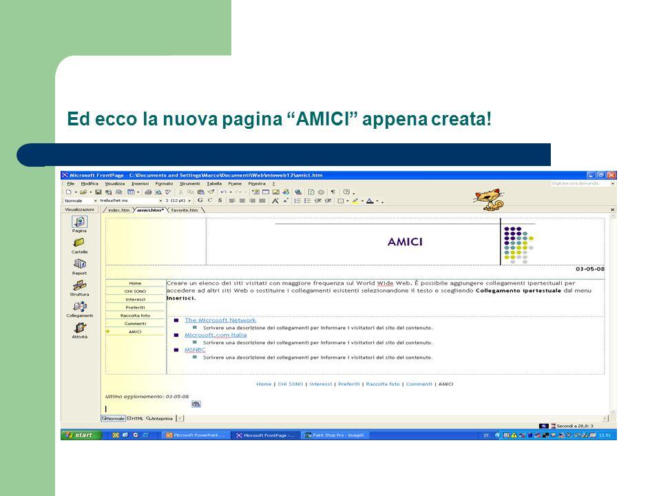 """Ed ecco la nuova pagina """"AMICI"""" appena creata!"""