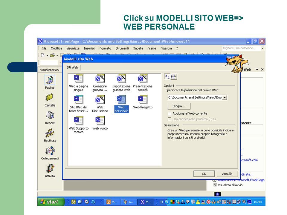 Click su MODELLI SITO WEB=> WEB PERSONALE