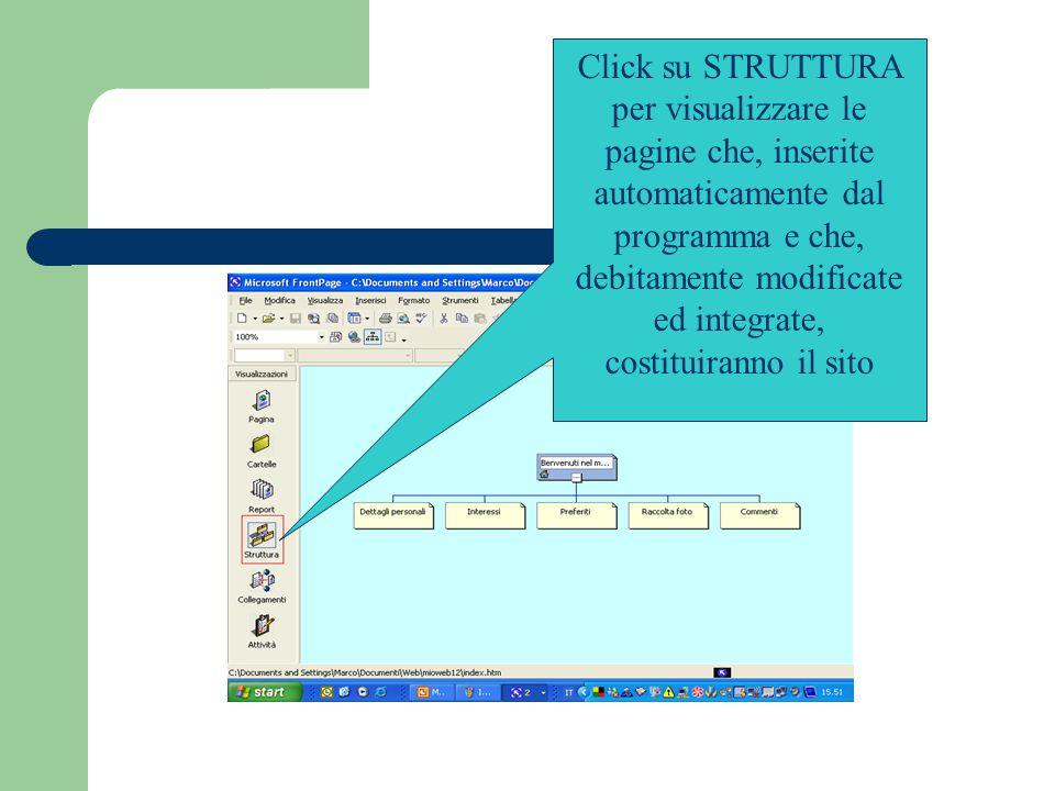 Click su STRUTTURA per visualizzare le pagine che, inserite automaticamente dal programma e che, debitamente modificate ed integrate, costituiranno il