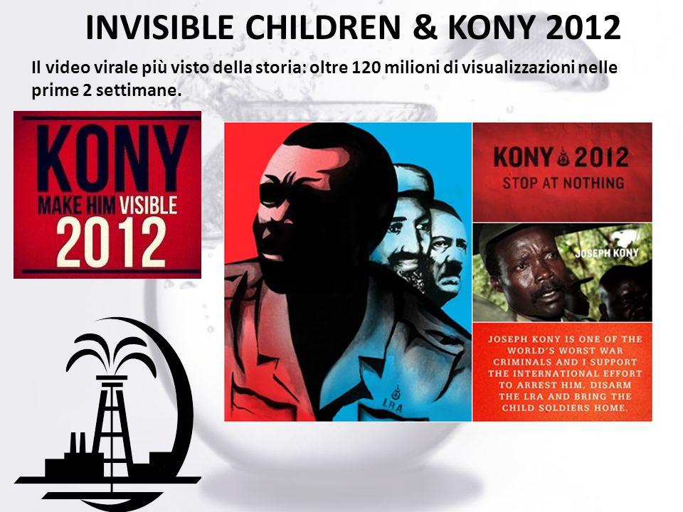 INVISIBLE CHILDREN & KONY 2012 Il video virale più visto della storia: oltre 120 milioni di visualizzazioni nelle prime 2 settimane.