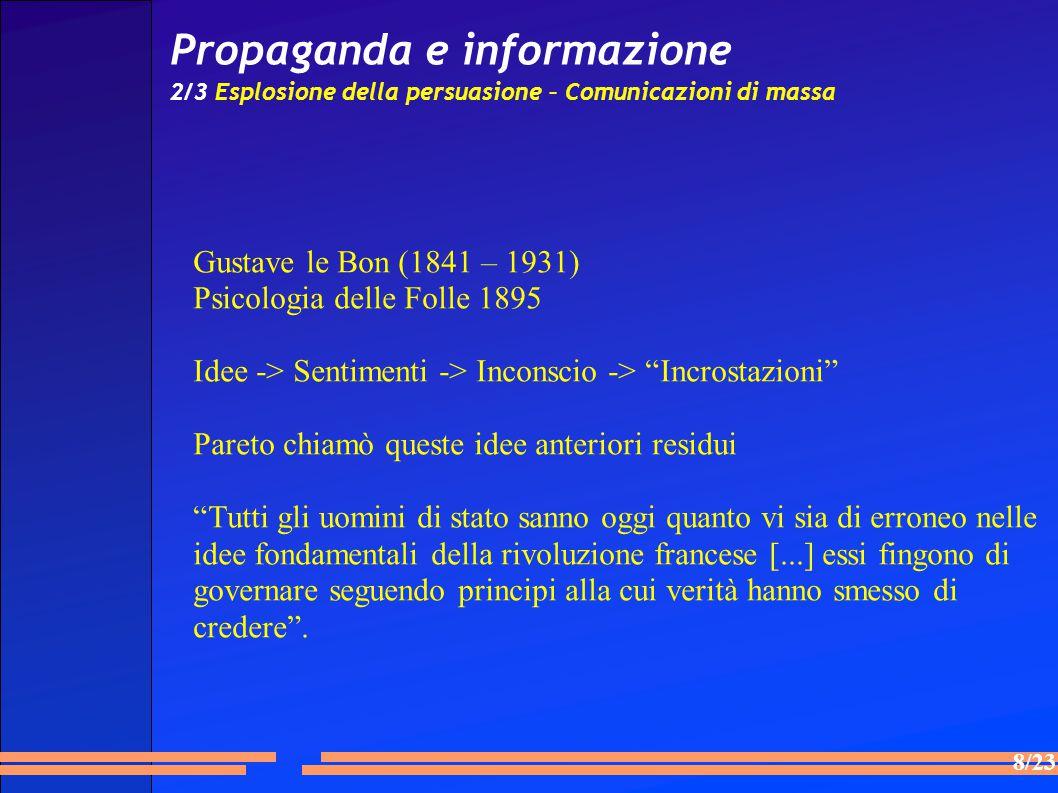 8/23 Propaganda e informazione 2/3 Esplosione della persuasione – Comunicazioni di massa Gustave le Bon (1841 – 1931) Psicologia delle Folle 1895 Ide