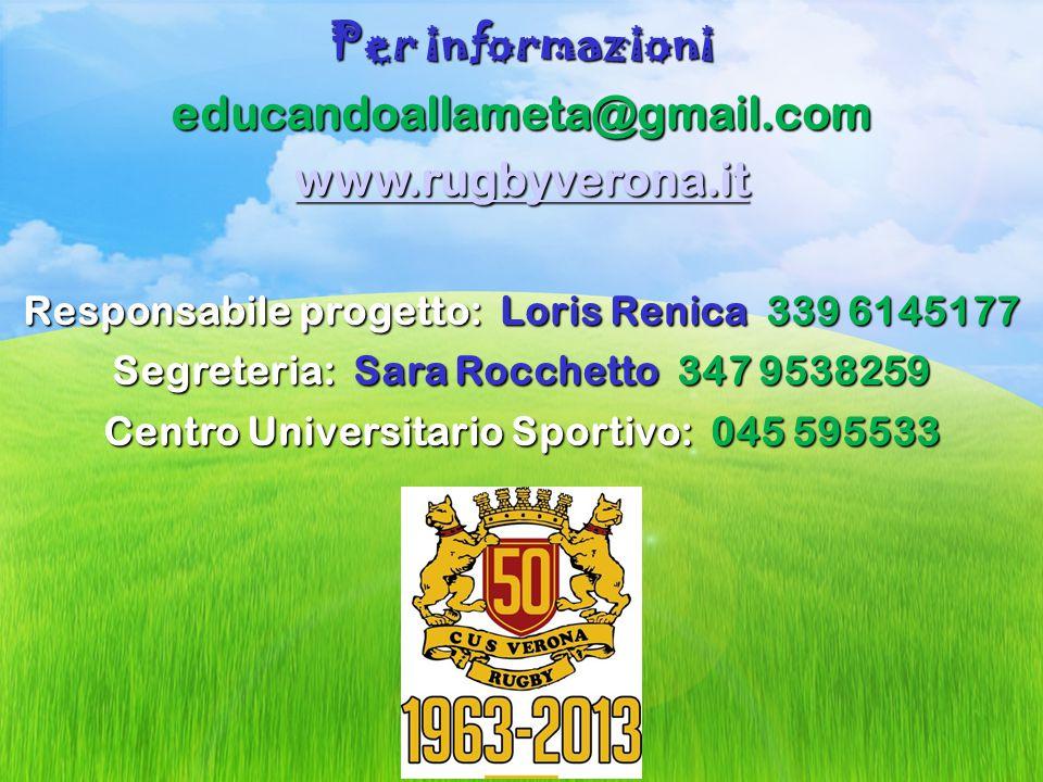 Per informazioni educandoallameta@gmail.com www.rugbyverona.it Responsabile progetto: Loris Renica 339 6145177 Segreteria: Sara Rocchetto 347 9538259 Centro Universitario Sportivo: 045 595533