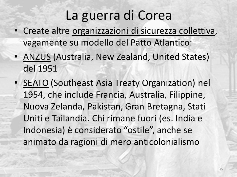 La guerra di Corea 35 Create altre organizzazioni di sicurezza collettiva, vagamente su modello del Patto Atlantico: ANZUS (Australia, New Zealand, Un
