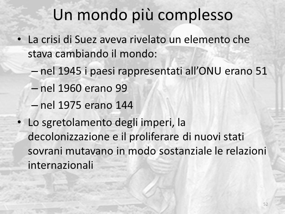 Un mondo più complesso 52 La crisi di Suez aveva rivelato un elemento che stava cambiando il mondo: – nel 1945 i paesi rappresentati all'ONU erano 51 – nel 1960 erano 99 – nel 1975 erano 144 Lo sgretolamento degli imperi, la decolonizzazione e il proliferare di nuovi stati sovrani mutavano in modo sostanziale le relazioni internazionali