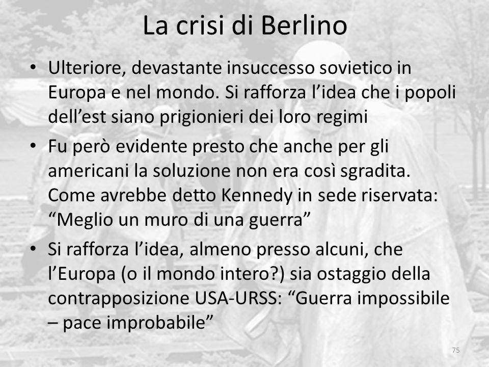La crisi di Berlino 75 Ulteriore, devastante insuccesso sovietico in Europa e nel mondo. Si rafforza l'idea che i popoli dell'est siano prigionieri de