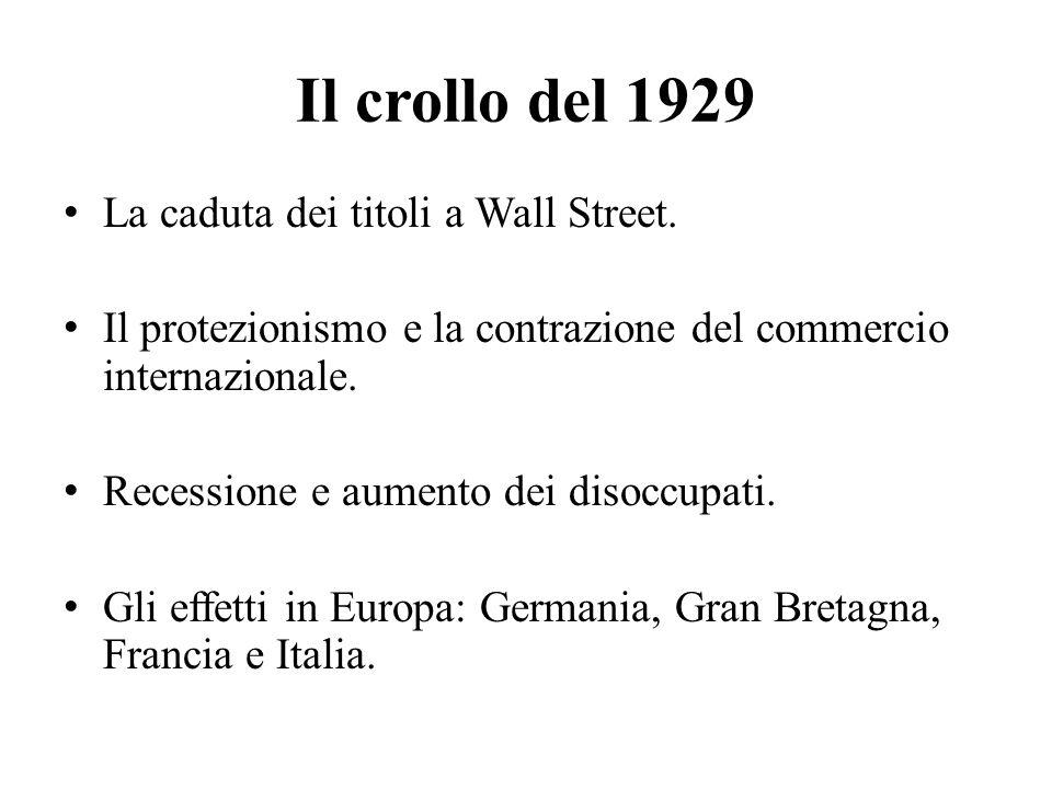 Il crollo del 1929 La caduta dei titoli a Wall Street. Il protezionismo e la contrazione del commercio internazionale. Recessione e aumento dei disocc