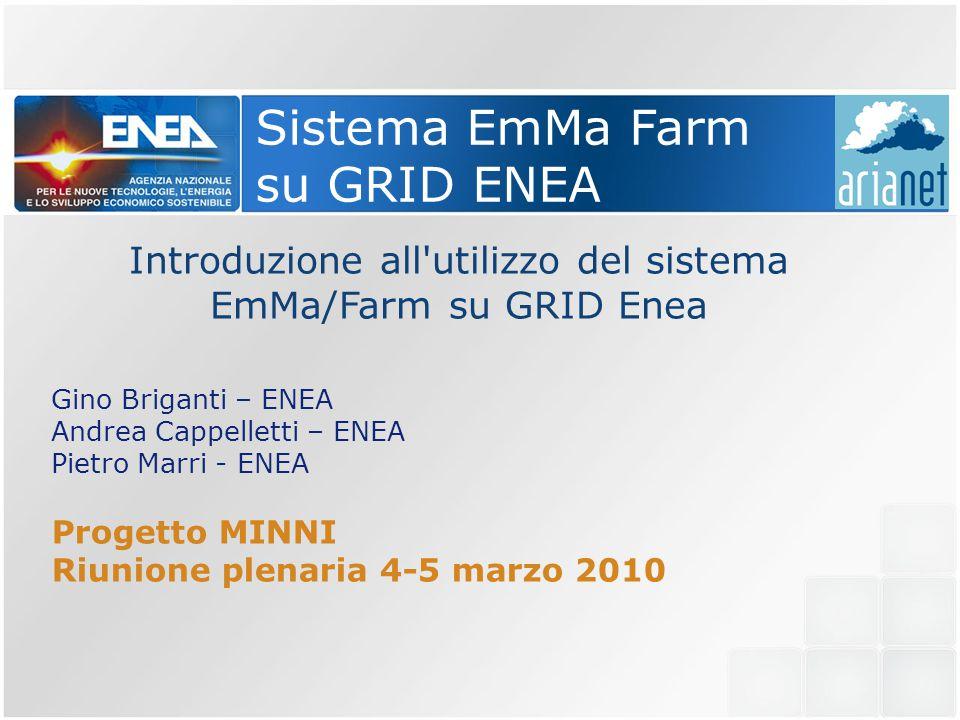 Sistema EmMa Farm su GRID ENEA Introduzione all utilizzo del sistema EmMa/Farm su GRID Enea Gino Briganti – ENEA Andrea Cappelletti – ENEA Pietro Marri - ENEA Progetto MINNI Riunione plenaria 4-5 marzo 2010