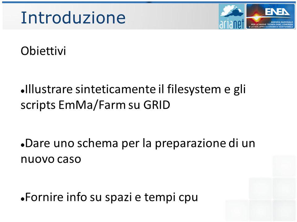 Introduzione Obiettivi Illustrare sinteticamente il filesystem e gli scripts EmMa/Farm su GRID Dare uno schema per la preparazione di un nuovo caso Fornire info su spazi e tempi cpu