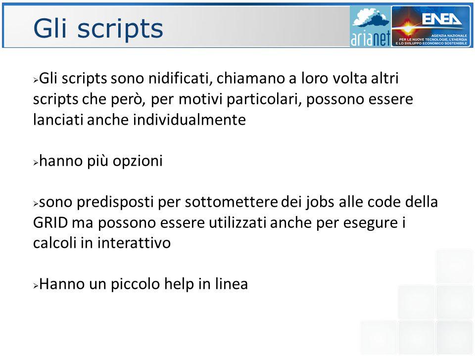 Gli scripts  Gli scripts sono nidificati, chiamano a loro volta altri scripts che però, per motivi particolari, possono essere lanciati anche individualmente  hanno più opzioni  sono predisposti per sottomettere dei jobs alle code della GRID ma possono essere utilizzati anche per esegure i calcoli in interattivo  Hanno un piccolo help in linea