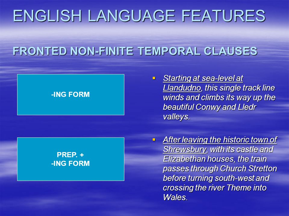 ENGLISH LANGUAGE FEATURES FRONTED NON-FINITE TEMPORAL CLAUSES  Starting at sea-level at Llandudno, this single track line winds and climbs its way up