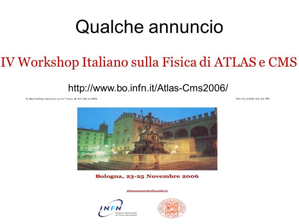 Qualche annuncio http://www.bo.infn.it/Atlas-Cms2006/ IV Workshop Italiano sulla Fisica di ATLAS e CMS