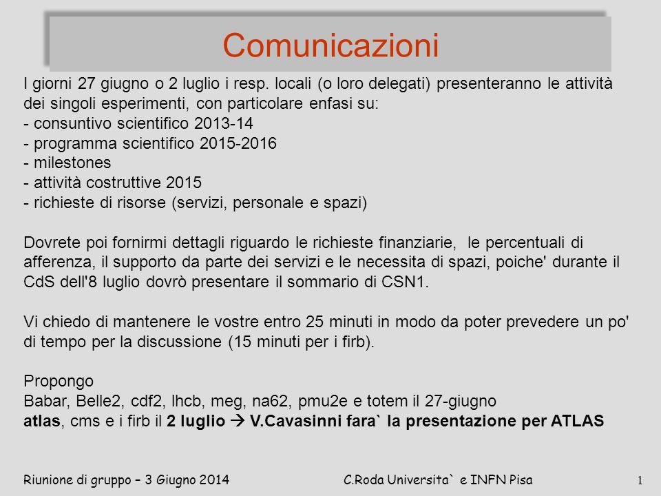 Comunicazioni Riunione di gruppo – 3 Giugno 2014C.Roda Universita` e INFN Pisa 1 I giorni 27 giugno o 2 luglio i resp. locali (o loro delegati) presen