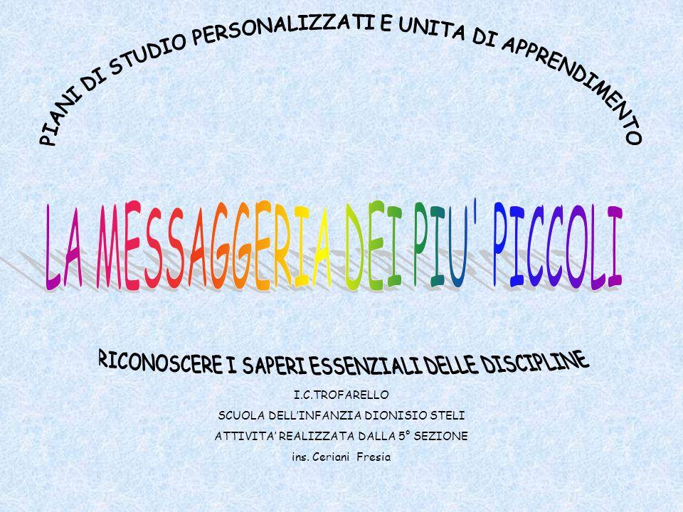 I.C.TROFARELLO SCUOLA DELL'INFANZIA DIONISIO STELI ATTIVITA' REALIZZATA DALLA 5° SEZIONE ins.