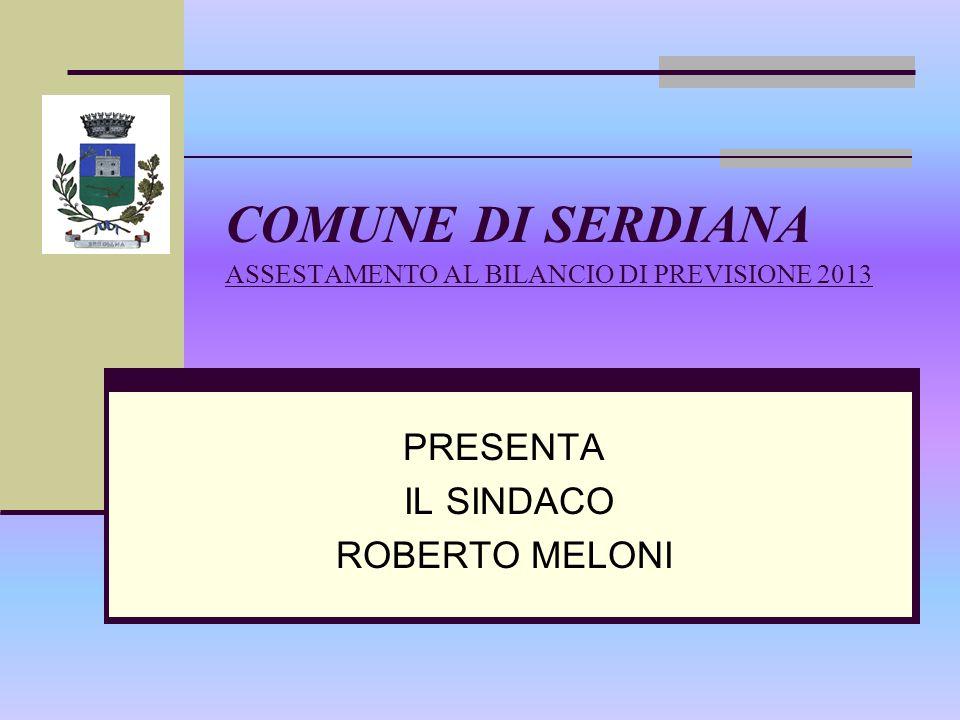 COMUNE DI SERDIANA ASSESTAMENTO AL BILANCIO DI PREVISIONE 2013 PRESENTA IL SINDACO ROBERTO MELONI