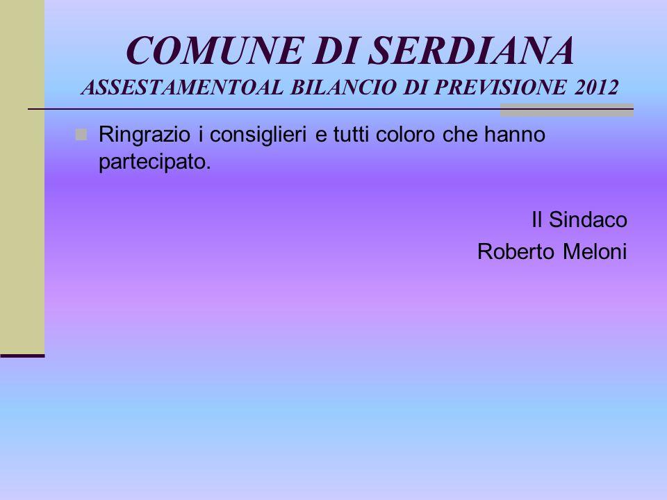 COMUNE DI SERDIANA ASSESTAMENTOAL BILANCIO DI PREVISIONE 2012 Ringrazio i consiglieri e tutti coloro che hanno partecipato.