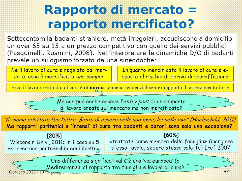 Rapporto di mercato = rapporto mercificato.