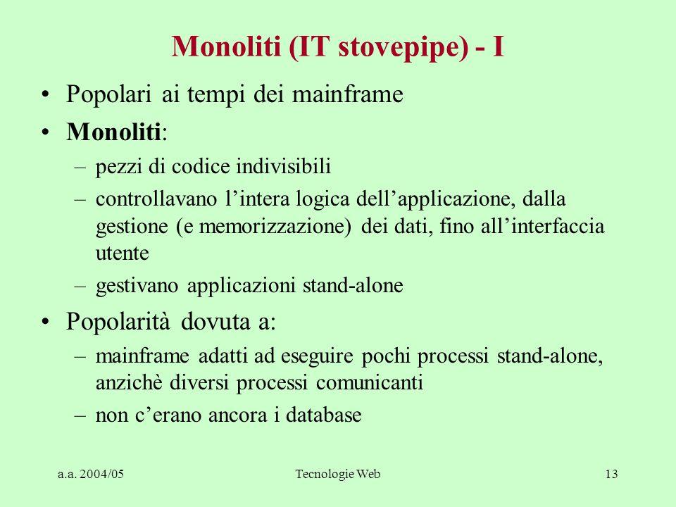 a.a. 2004/05Tecnologie Web12 Le ere del Client/Server Da: Byte Aprile 95