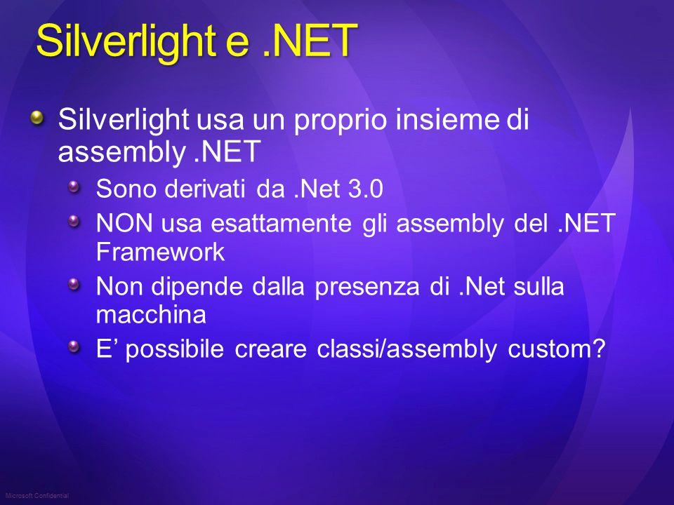 Silverlight e.NET Silverlight usa un proprio insieme di assembly.NET Sono derivati da.Net 3.0 NON usa esattamente gli assembly del.NET Framework Non dipende dalla presenza di.Net sulla macchina E' possibile creare classi/assembly custom