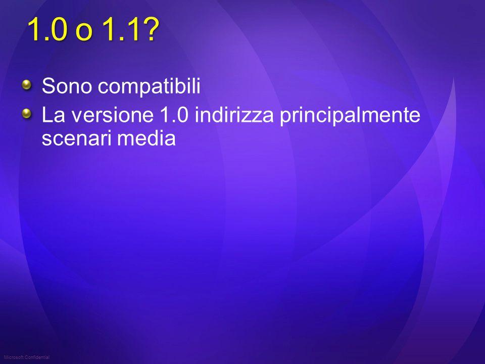 Microsoft Confidential 1.0 o 1.1? Sono compatibili La versione 1.0 indirizza principalmente scenari media