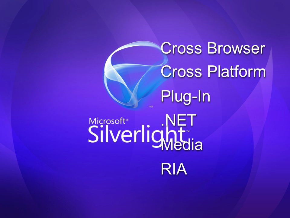 Expression Studio Expression Encoder AdessoAdesso Più avanti… Silverlight 1.0 Silverlight Tools Preview for Visual Studio 2008 Expression Blend 2 Preview Silverlight 1.1 Alpha Expression Studio 2 Silverlight 1.1 Silverlight for mobile Silverlight Tools for Visual Studio 2008