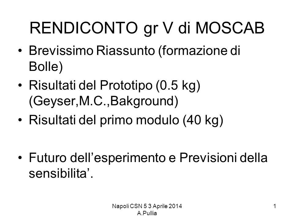 Napoli CSN 5 3 Aprile 2014 A.Pullia 1 RENDICONTO gr V di MOSCAB Brevissimo Riassunto (formazione di Bolle) Risultati del Prototipo (0.5 kg) (Geyser,M.C.,Bakground) Risultati del primo modulo (40 kg) Futuro dell'esperimento e Previsioni della sensibilita'.