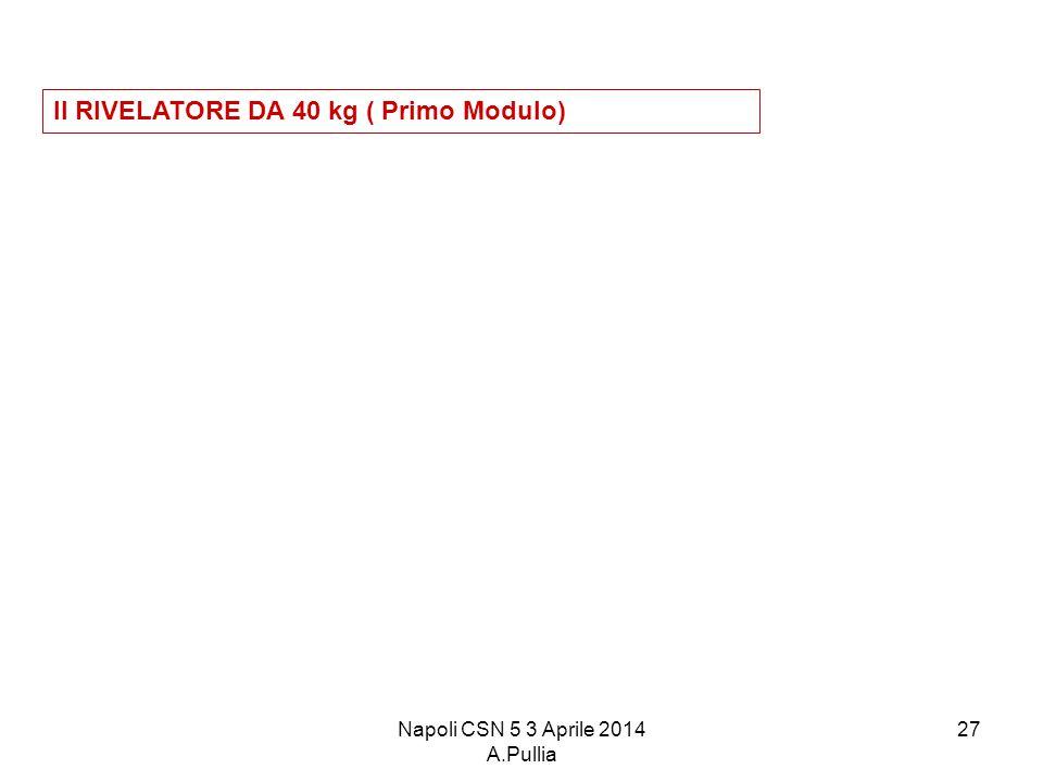 Napoli CSN 5 3 Aprile 2014 A.Pullia 27 Il RIVELATORE DA 40 kg ( Primo Modulo)