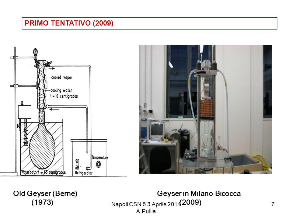 Napoli CSN 5 3 Aprile 2014 A.Pullia 7 Geyser in Milano-Bicocca (2009) Old Geyser (Berne) (1973) PRIMO TENTATIVO (2009)