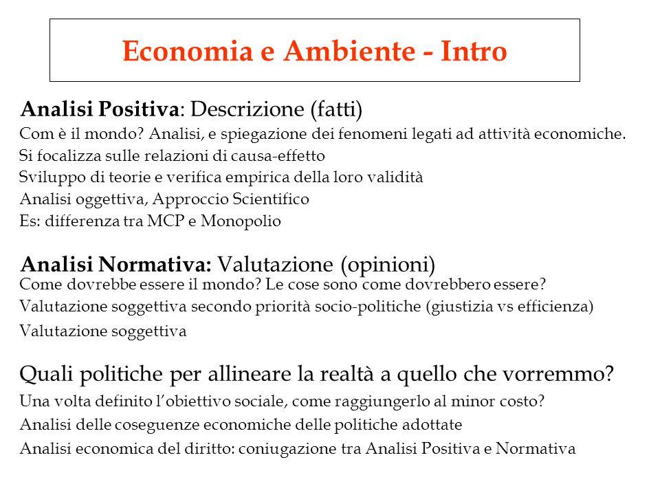 Analisi Positiva : Descrizione (fatti) Com è il mondo.