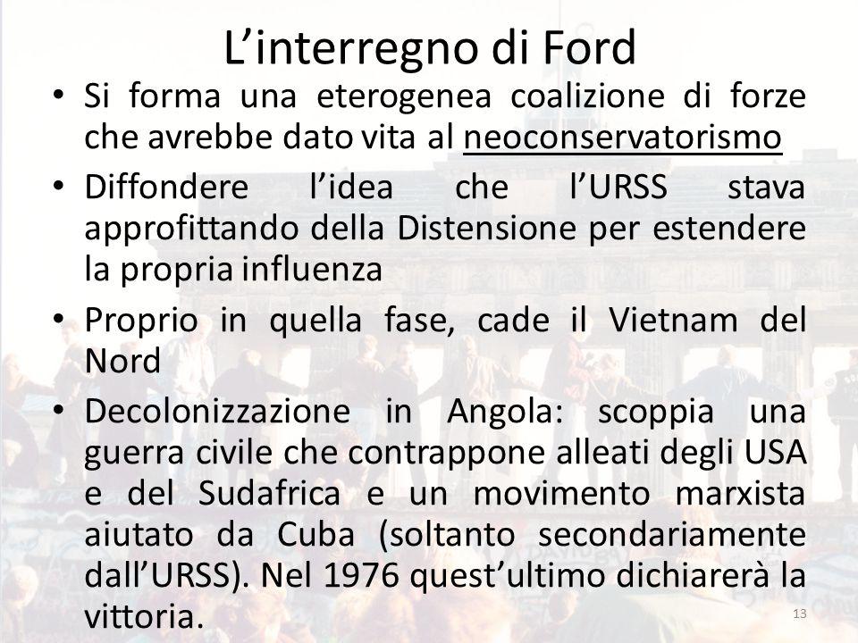 L'interregno di Ford Si forma una eterogenea coalizione di forze che avrebbe dato vita al neoconservatorismo Diffondere l'idea che l'URSS stava approf