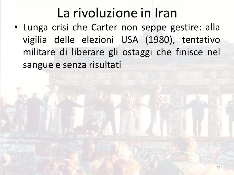 La rivoluzione in Iran Lunga crisi che Carter non seppe gestire: alla vigilia delle elezioni USA (1980), tentativo militare di liberare gli ostaggi che finisce nel sangue e senza risultati 33