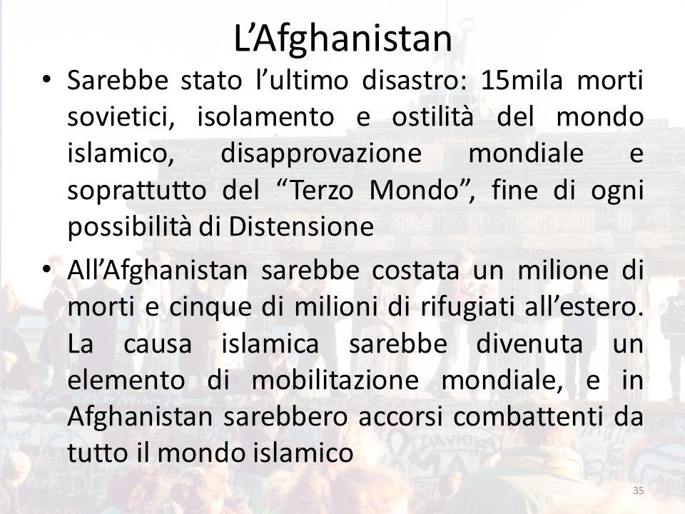 L'Afghanistan Sarebbe stato l'ultimo disastro: 15mila morti sovietici, isolamento e ostilità del mondo islamico, disapprovazione mondiale e soprattutto del Terzo Mondo , fine di ogni possibilità di Distensione All'Afghanistan sarebbe costata un milione di morti e cinque di milioni di rifugiati all'estero.