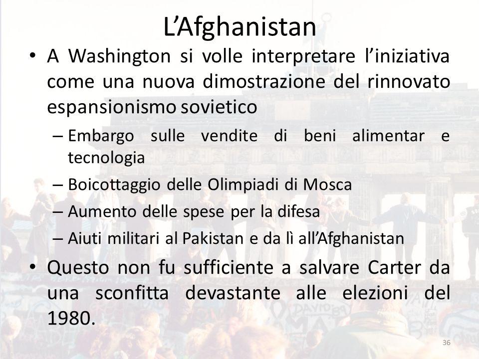 L'Afghanistan A Washington si volle interpretare l'iniziativa come una nuova dimostrazione del rinnovato espansionismo sovietico – Embargo sulle vendi