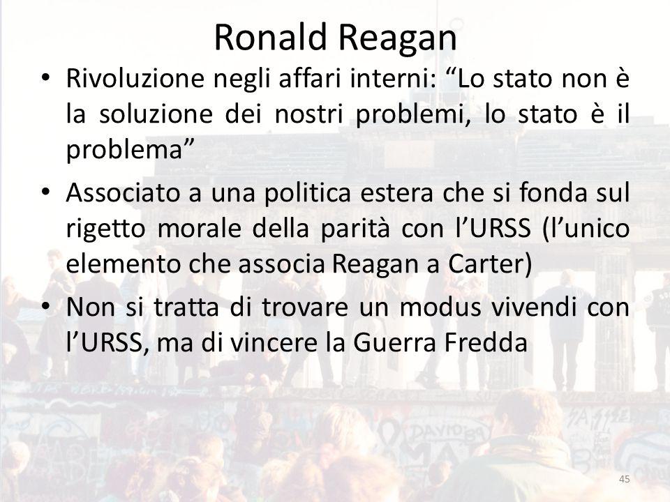 Ronald Reagan Rivoluzione negli affari interni: Lo stato non è la soluzione dei nostri problemi, lo stato è il problema Associato a una politica estera che si fonda sul rigetto morale della parità con l'URSS (l'unico elemento che associa Reagan a Carter) Non si tratta di trovare un modus vivendi con l'URSS, ma di vincere la Guerra Fredda 45