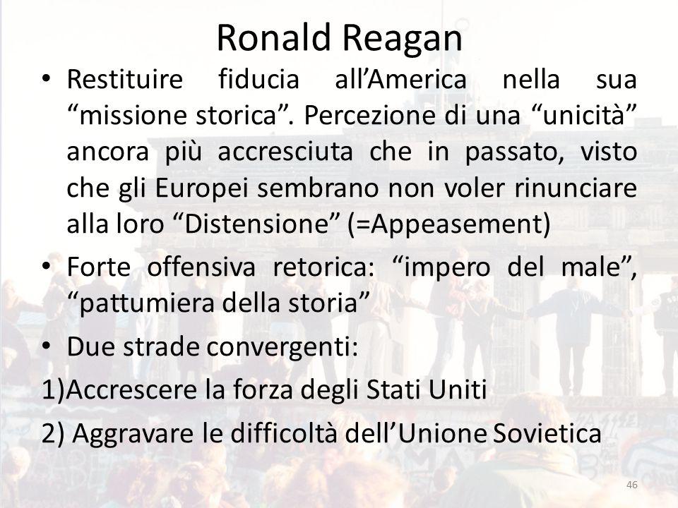"""Ronald Reagan Restituire fiducia all'America nella sua """"missione storica"""". Percezione di una """"unicità"""" ancora più accresciuta che in passato, visto ch"""