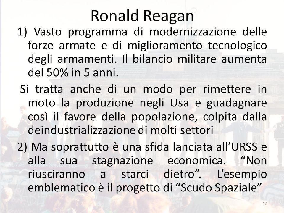 Ronald Reagan 1) Vasto programma di modernizzazione delle forze armate e di miglioramento tecnologico degli armamenti. Il bilancio militare aumenta de