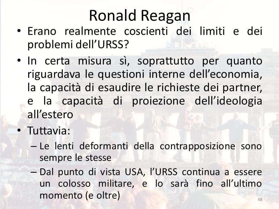 Ronald Reagan Erano realmente coscienti dei limiti e dei problemi dell'URSS? In certa misura sì, soprattutto per quanto riguardava le questioni intern