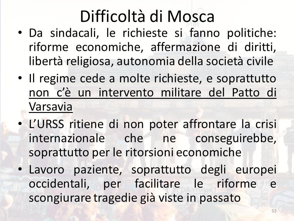 Difficoltà di Mosca Da sindacali, le richieste si fanno politiche: riforme economiche, affermazione di diritti, libertà religiosa, autonomia della soc