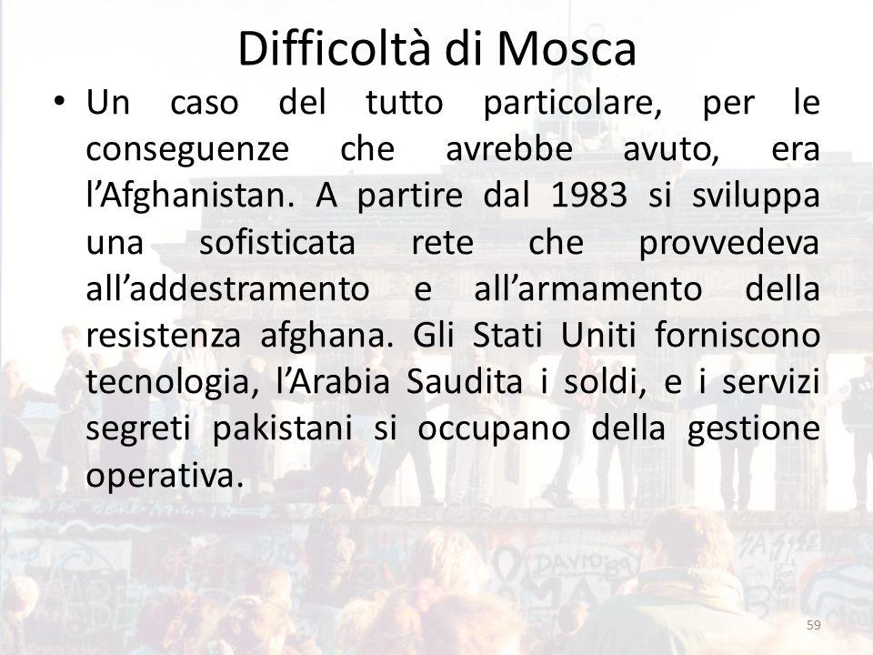 Difficoltà di Mosca Un caso del tutto particolare, per le conseguenze che avrebbe avuto, era l'Afghanistan. A partire dal 1983 si sviluppa una sofisti