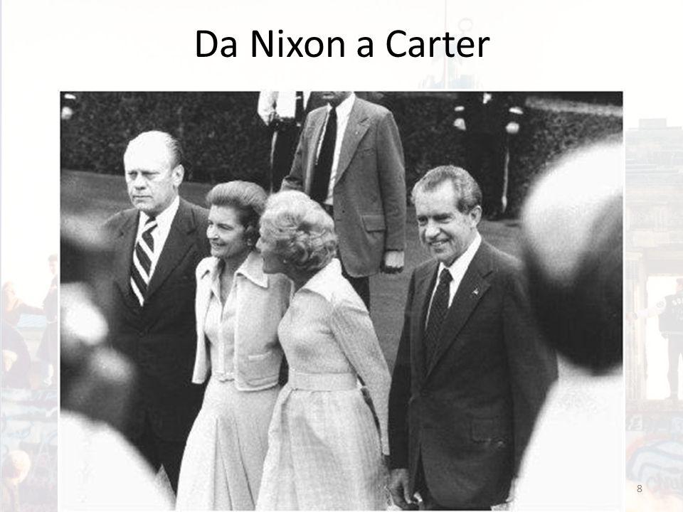 L'interregno di Ford Come conseguenza dello scandalo Watergate, Nixon si dimette nel 1974 Sostituito dal Vicepresidente Ford Parentesi di estrema debolezza: – Ridimensionamento dell'istituzione presidenziale a vantaggio del Congresso – Critica sempre più serrata e bipartisan alla Distensione, che era stato il tratto distintivo dell'amministrazione precedente 9