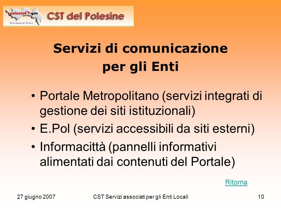 27 giugno 2007CST Servizi associati per gli Enti Locali10 Servizi di comunicazione per gli Enti Portale Metropolitano (servizi integrati di gestione d