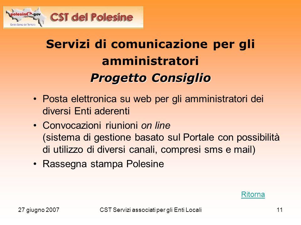 27 giugno 2007CST Servizi associati per gli Enti Locali11 Servizi di comunicazione per gli amministratori Progetto Consiglio Posta elettronica su web