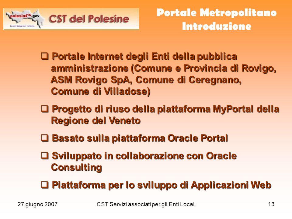 27 giugno 2007CST Servizi associati per gli Enti Locali13  Portale Internet degli Enti della pubblica amministrazione (Comune e Provincia di Rovigo,