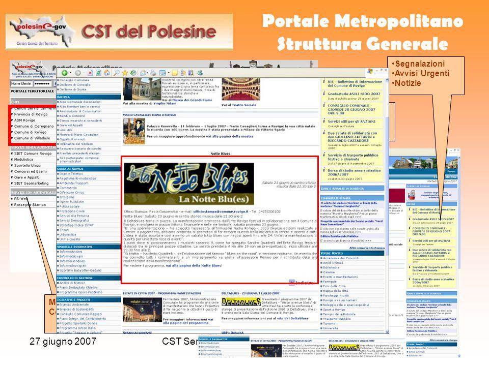 27 giugno 2007CST Servizi associati per gli Enti Locali14 Portale Metropolitano Struttura Generale Menu Contestuale Segnalazioni Avvisi Urgenti Notizi