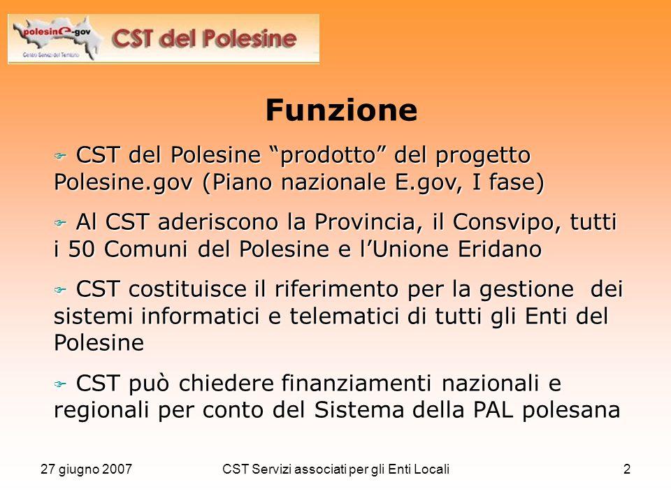 """27 giugno 2007CST Servizi associati per gli Enti Locali2 Funzione  CST del Polesine """"prodotto"""" del progetto Polesine.gov (Piano nazionale E.gov, I fa"""