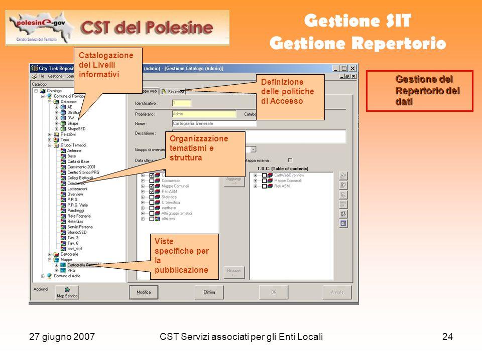 27 giugno 2007CST Servizi associati per gli Enti Locali24 Gestione SIT Gestione Repertorio Catalogazione dei Livelli informativi Organizzazione tematismi e struttura Gestione del Repertorio dei dati Definizione delle politiche di Accesso Viste specifiche per la pubblicazione